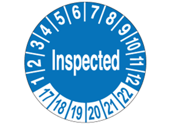Month and year inspection labels