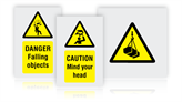 Overhead hazard warning signs