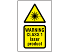 Warning Class 1 laser product symbol and text safety sign.