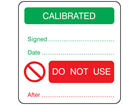 Calibrated, do not use after combination label.