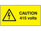 Caution 415 volts label.