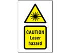 Caution Laser hazard symbol and text safety sign.