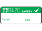 Tested for electrical safety label equipment label.