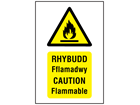 Rhybudd Fflamadwy, Caution Flammable. Welsh English sign.