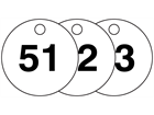 Plastic valve tags, numbered 51-75