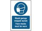 Rhaid gwisgo mwgwd wyneb, Face masks must be worn. Welsh English sign.