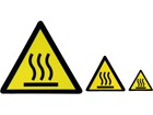 Hot surface warning symbol label.