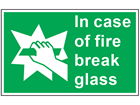 In case of fire break glass symbol and text safety sign.