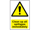 Clean up all spillages immediately safety sign.