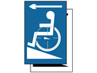 Disabled ramp symbol, arrow left sign.