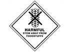 Harmful stow away from foodstuffs hazard warning diamond sign