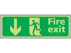 Fire exit arrow down photoluminescent sign.
