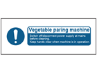 Vegetable paring machine safety label.