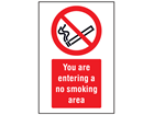 You are entering a no smoking area symbol and text safety sign.
