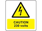 Caution 230 volts symbol and text safety label.