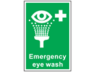 Emergency eye wash symbol and text sign.