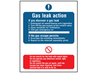 Gas leak action safety sign.