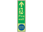 Fire exit, running man left, fire door keep shut fingerplate photoluminescent sign.