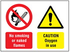 No smoking or naked flames, Caution oxygen in use safety sign.