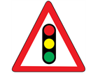 Traffic lights temporary road sign.