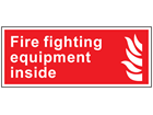 Fire fighting equipment inside symbol and text sign