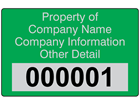 Assetmark serial number label (text on colour), 32mm x 50mm