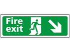 Fire exit, running man, arrow down right sign.