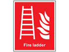 Fire ladder symbol and text safety sign.