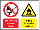 No smoking or naked flames, Highly flammable material safety sign.