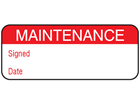 Maintenance label.