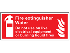 Fire extinguisher water, Do not use on live electrical equipment or burning liquid fires symbol and text sign.