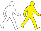 Walking man symbol thermoplastic marker