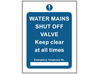 Water mains shut off valve safety sign.
