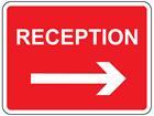 Reception, arrow right sign