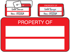 Property asset label, not numbered, self laminating