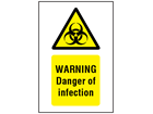 Warning danger of infection symbol and text safety sign.
