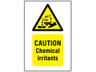 Caution chemical irritants symbol and text safety sign.