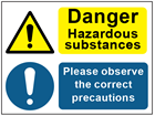 COSHH. Dangerous hazard substances, correct precautions sign.