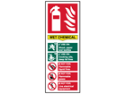 Wet chemical fire extinguisher safety sign.