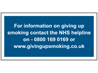 NHS smoking helpline sign