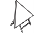 Triangular frame for housing temporary road sign.