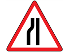 Road narrows on left sign