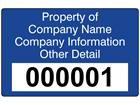 Assetmark tamper evident serial number label (text on colour), 32mm x 50mm