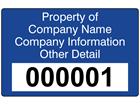 Assetmark tamper evident serial number label (text on colour), 32mm x 50mm