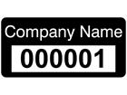 Assetmark tamper evident serial number label (text on colour), 12mm x 25mm