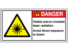 Caution visible and / or invisible laser radiation label