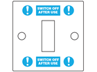 Switch off label.