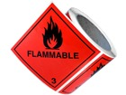 Flammable, class 3, hazard diamond label