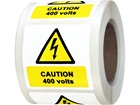 Caution 400 volts symbol and text safety label.