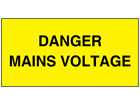 Danger mains voltage electrical warning label